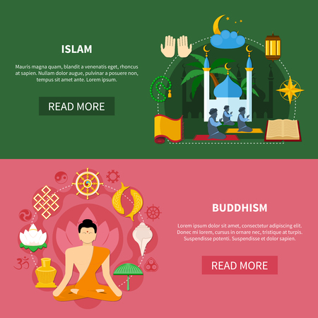 Colored religions flat and horizontal banner set with buddhism and islam headlines vector illustration Illustration