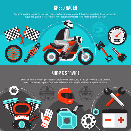 Speed racer horizontal banners with spare parts biker gear and male character riding on bike vehicle flat vector illustration