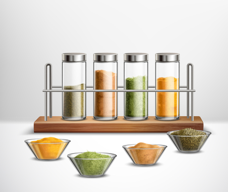 Realistic spices in bowls and glass jars on wooden shelf composition on white illustration. Illustration