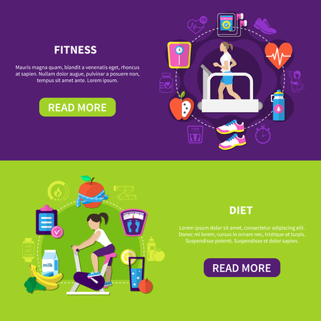 Set of flat horizontal banners with fitness and diet food isolated on purple green illustration. Ilustração