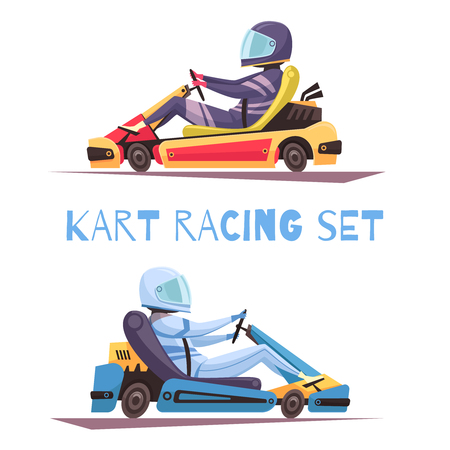 Two kart racing participants cartoon design concept isolated on white illustration.