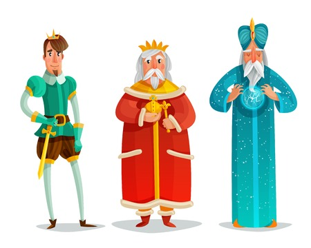 Royal characters cartoon set including prince with sword, king, wise man with energy ball isolated illustration.