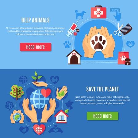 Conjunto de dos pancartas de caridad horizontales con equipo veterinario y símbolos de protección del medio ambiente con leer más ilustración de vector de botón Foto de archivo - 91541211