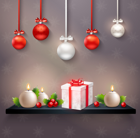 New year festive composition with hanging Christmas balls gift box holly berries and round candles realistic illustration.