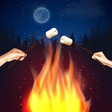 森の月明かりの夜の風景と人間の手で炎とキャンプファイヤーマシュマロの組成物は、マシュマロのイラストの作品を焼きます。