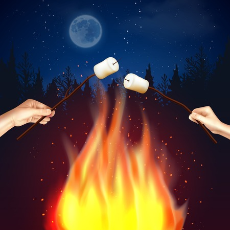 Campfire marshmallow composition with forest moonlit night scenery and flame with human hands broiling pieces of marshmallow illustration.