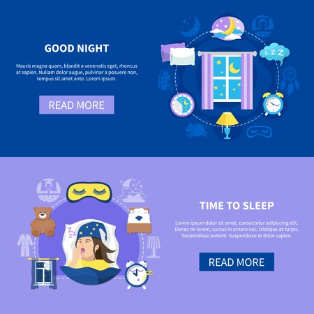 Night sleeping habits bedroom accessories dreams 2 flat horizontal banners.