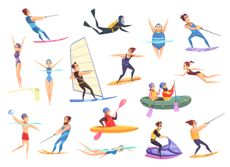 Cartoon set of male and female people doing various kinds of water sports isolated on white illustration. Vectores