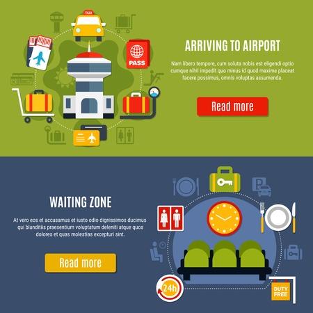 国際空港オンラインサービス2明るい平らな水平なウェブページバナーと待機ゾーン情報分離ベクトルイラスト