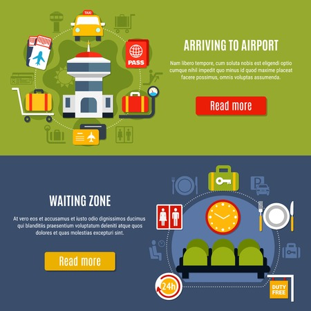 International airport online service 2 bright flat horizontal webpage banners with waiting zone information isolated vector illustration Illustration