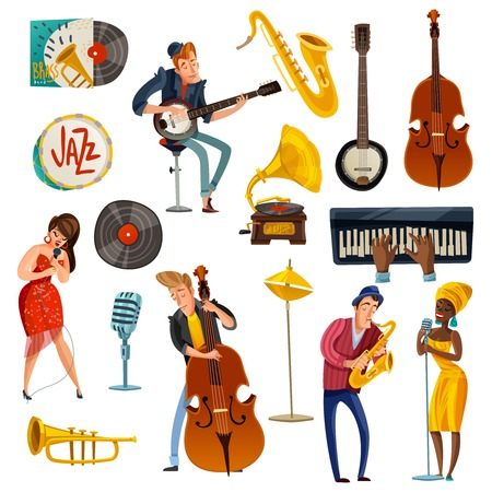 Jazz music cartoon set with singers.