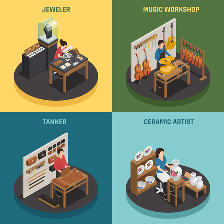 Artisan occupation 2x2 design concept with jeweler tanner ceramic artist and music workshop square icons isometric vector illustration