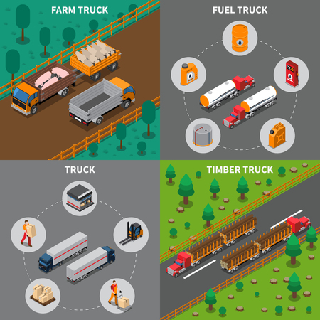 Heavy automotive vehicles isometric concept with trucks for farm, timber and fuel, cargo transportation isolated vector illustration