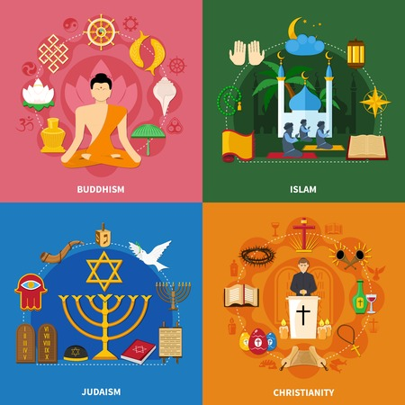 Four squares religions icon set with buddhism islam Judaism and Christianity descriptions vector illustration Illustration