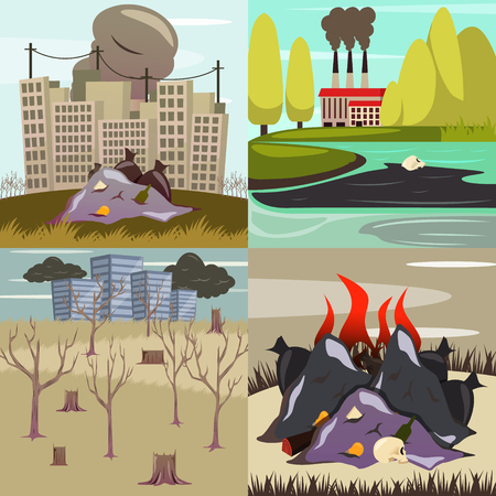 Man made environmental disasters 4 orthogonal icons
