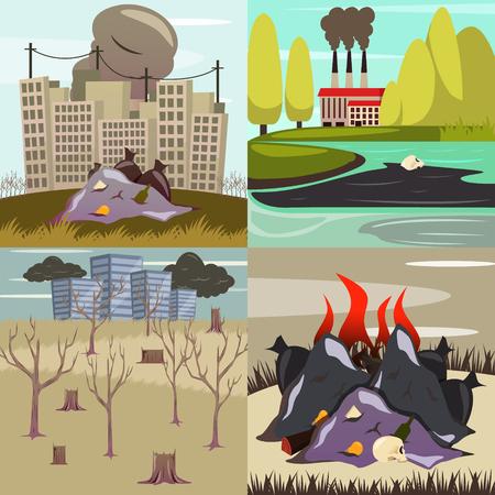 Man made environmental disasters 4 orthogonal icons