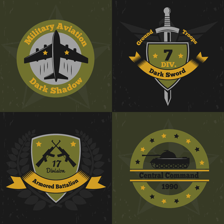 Military emblems concept Illustration