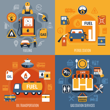 Four squares fuel pump concept set with fueling petrol station oil transportation and gas station services descriptions vector illustration Illustration