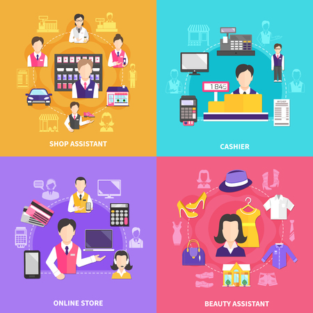 Salesman design concept with four round compositions of silhouette icons and flat images of shopworkers and items vector illustration
