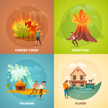 Natural disasters design concept Ilustracja