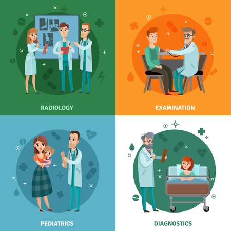 Doctors and patients design concept with radiology, medical examination, pediatrics, diagnostics in hospital care isolated vector illustration