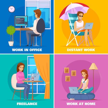 Designer artist concept icons set Stock Illustratie