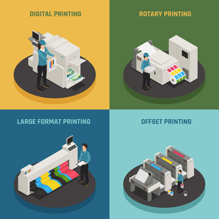 Printing house 4 isometric icons concept with digital rotary large format and offset production types vector illustration  Illustration