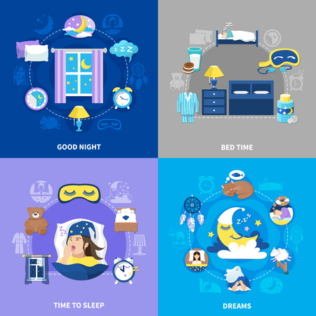 Bedtime sleep 4 flat icons concept