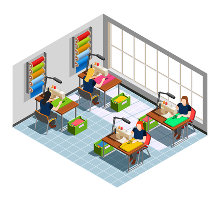 Fashion clothing factory seamstress workplace isometric composition with women at sewing machines and ready production vector illustration
