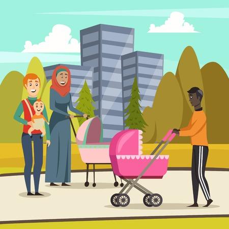 육아 휴가 벡터 그림 동안 도시 공원에서 산책에 아버지와 유아와 직사각형 배경 일러스트