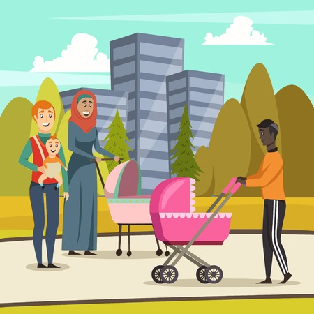 Orthogonal background with fathers and infants at stroll in city park during parental leave vector illustration 일러스트