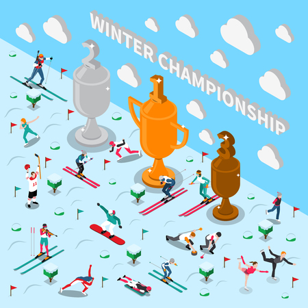 Winter sport isometric people composition with conceptual composition of athlete figures sport equipment and trophy cups vector illustration