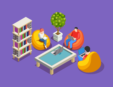Coworking people isometric composition with human characters sitting in colourful beanbag chairs with laptops and books vector illustration