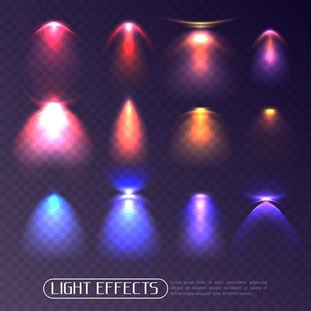 Set of colored artificial light effects of various intensity isolated on transparent background vector illustration Illustration