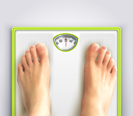 Woman weight loss and fitness with scales and feet realistic vector illustration