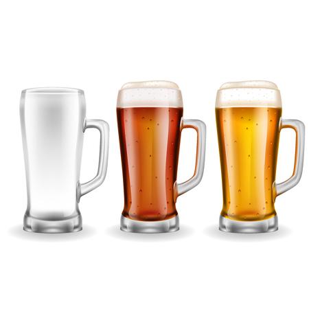 白い背景ベクトルイラストにリアルなスタイルの琥珀と黄色のビールの3つの透明なガラスマグカップ  イラスト・ベクター素材