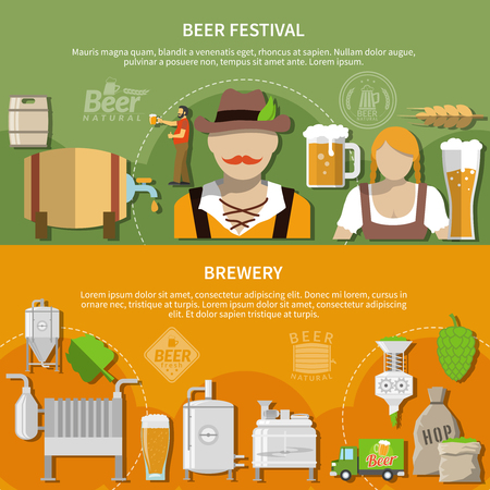 Beer festival elements and brewery equipment flat horizontal banners set isolated vector illustration