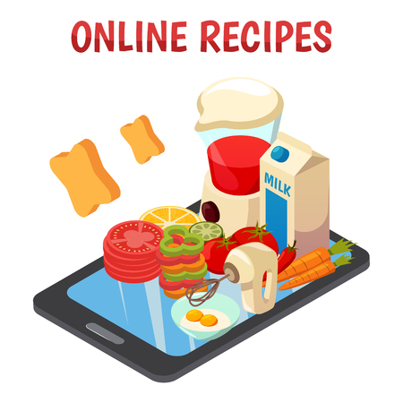 Online culinary recipes isometric composition with kitchen equipment, vegetables, eggs, milk on mobile device screen vector illustration  Иллюстрация