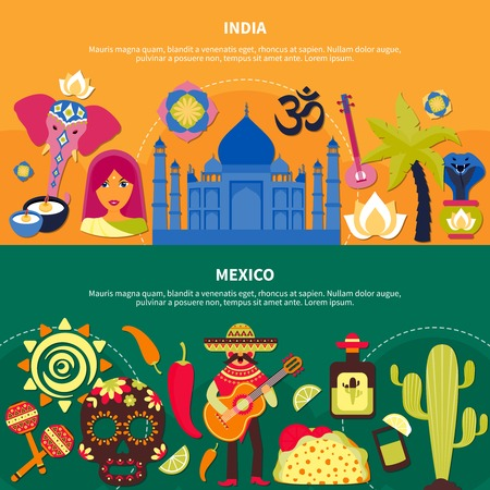 Flat design set of horizontal travelling banners with indian and mexican culture symbols isolated vector illustration