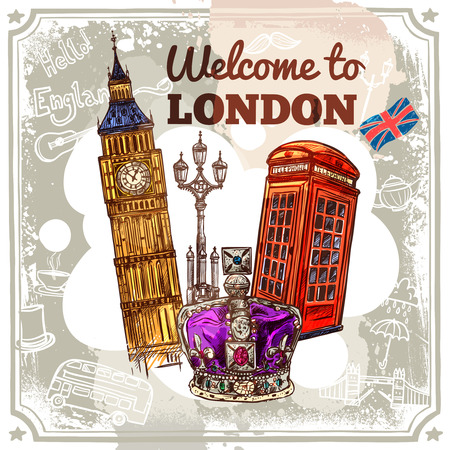 Wellcome to London sketch poster with tourist attractions and symbols vector illustration