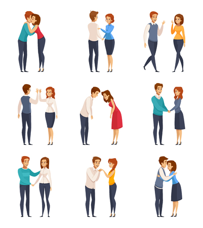 Greeting handshake set with men and women flat isolated vector illustration