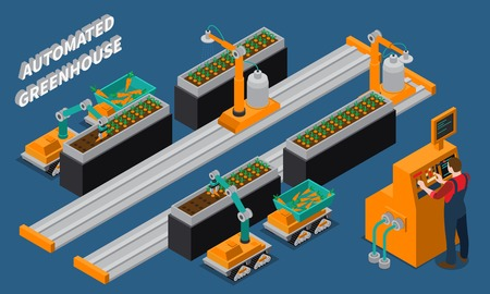 Automated greenhouse isometric composition with farming robots and worker near control panel on blue background vector illustration Vettoriali