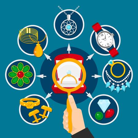 青色の背景のベクトル図の手、宝石、メンズおよび女性の装飾に拡大鏡を宝石選択構成