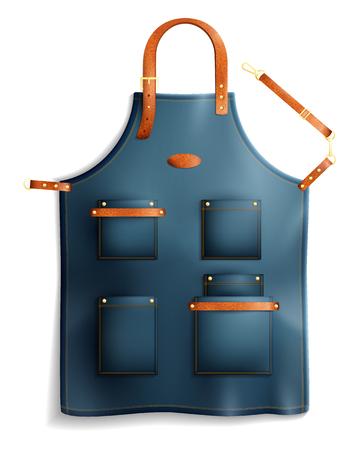 Realistische professionele unisex-schort met zakken, metalen gespen en lederen riemen geïsoleerd op witte achtergrond vectorillustratie
