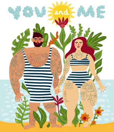 Tattooed couple cartoon poster in comic style with man and woman swimsuit and tattoos all over body flat vector illustration