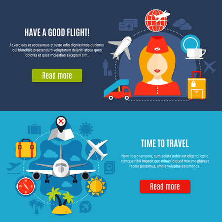 Air travel online service airlines company flight information 2 flat horizontal banners webpage design isolated vector illustration  Ilustracja