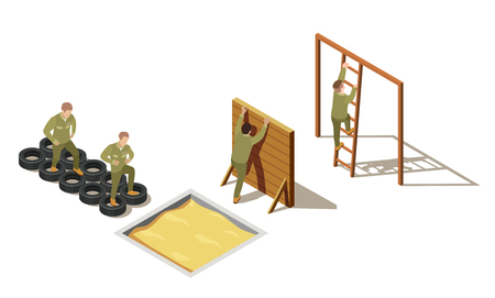 Military personnel primary recruit physical training drills with tire-based and climbing exercises isometric composition vector illustration