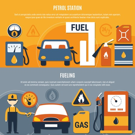 Two horizontal fuel pump flyer set with petrol station and fueling descriptions vector illustration