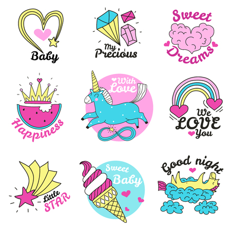 Cute magic emblems colored set of precious sweets stars hearts unicorn rainbow images isolated vector illustration