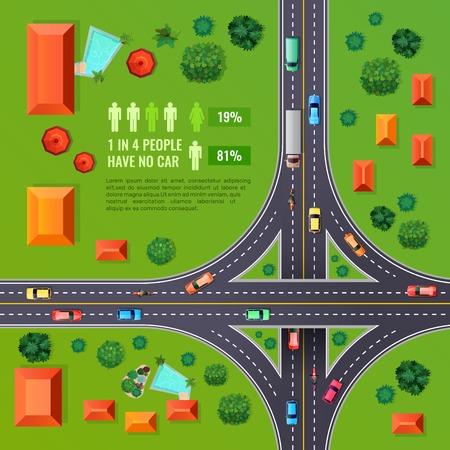 緑の背景ベクトルイラストに車両、建物、樹木、インフォグラフィック要素を持つマーキングトップビューデザインを持つクロスロード
